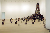 Large pile of speakers in a gallery